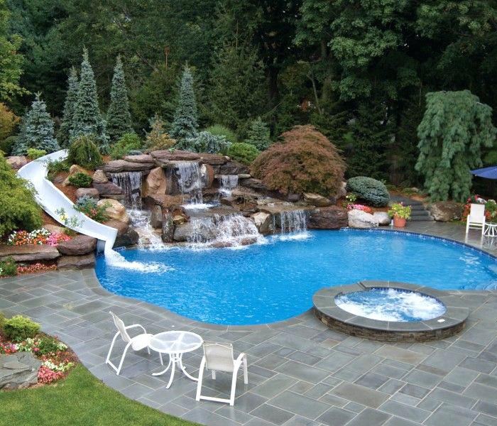 pool waterfall addition