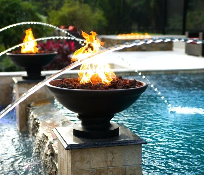 fire water bowls for pools