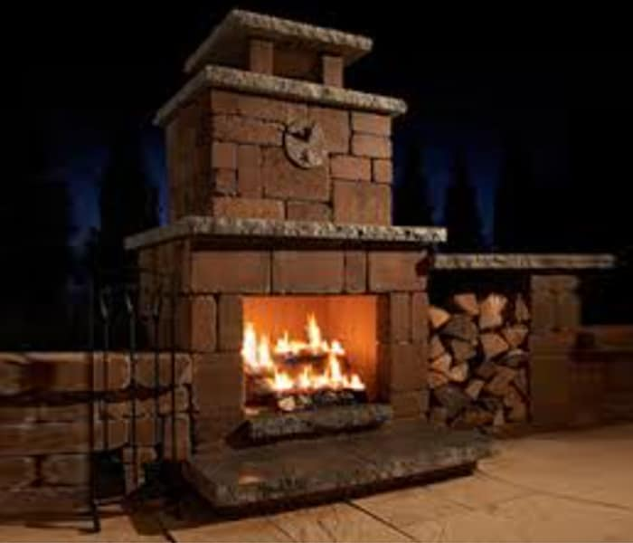 luxury outdoor fireplace
