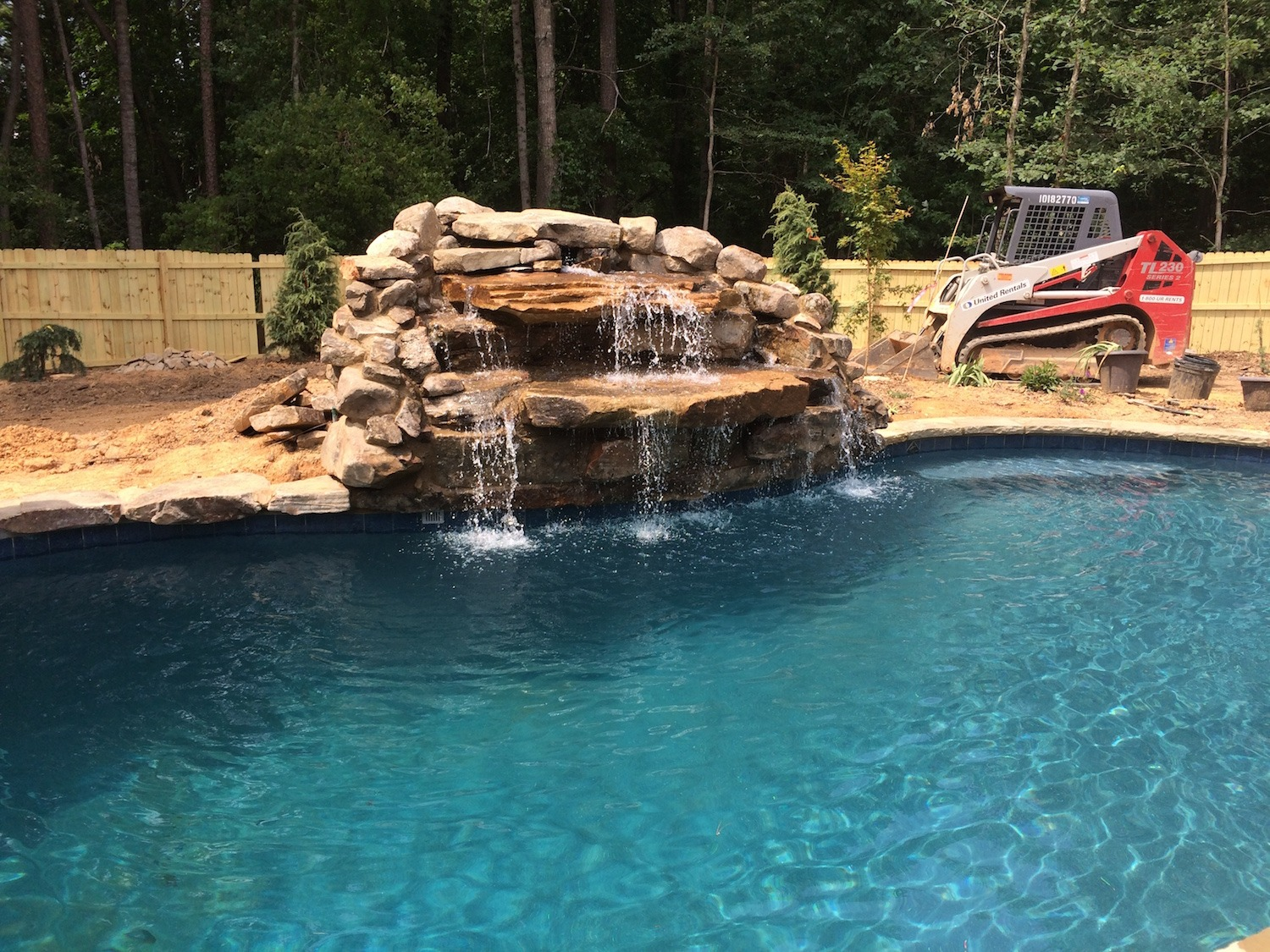 swimming pool waterfalls construction
